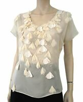 REBECCA TAYLOR Crystal Embellished Floral Applique Ivory Silk Chiffon Blouse Top