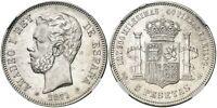 Spain-Amadeo I. 5 pesetas. 1871*18-74 DEM. Madrid. AU 55. Plata 25 g. Rara asi