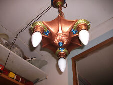 Vintage  ( Bat Wing ) three Socket  Cast Iron  Hanging Ceiling Chandelier Light.