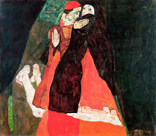 Cardinal and Nun Caress by Egon Schiele A1 High Quality Art Print