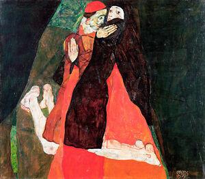 Cardinal and Nun Caress by Egon Schiele A1 High Quality Art Print