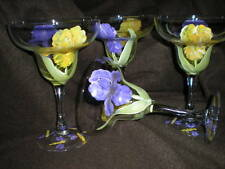 HANDPAINTED YELLOW AND PURPLE IRIS WITH DRAGONFLIES SET/4 MARGARITA GLASSES
