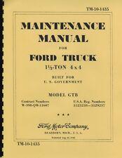 "TM10-1435 ~ 1.5 Ton Ford ~ GTB ""Burma Jeep "" ~ Maint Manual ~ 1942 ~ Reprnt"