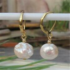 10x11mm Natural Sea Baroque Rose Gold Pearl Earrings 14K Gift AAA Earbob