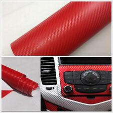 Poignée intérieur auto rouge 3D console fibre de carbone wrap autocollant film vinyle autocollant