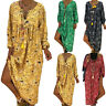 Womens Long Sleeve V Neck Loose Baggy Maxi Dress Ladies Casual Beach Sundress UK