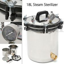 2KW 18L Steam Autoclave Sterilizer Dental Pressure Sterilization Dual Heating