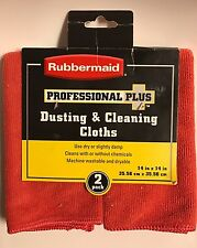 """Rubbermaid Professional Plus Dusting & Cleaning Clothes NEW 2 Pack 14"""" x 14"""" Ea."""