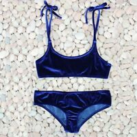 Blue Velvet Swimwear For Women Swimsuits Push up Bikini Halter Set Polyester New
