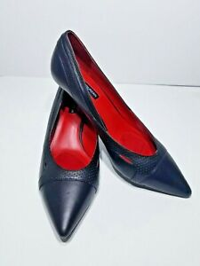 Charles Jourdan Paris Black Pointed Toe Kitten Heel  Cut Out New Size 9.5
