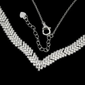 Necklace White Diamond Cut Lab Created Stones Sterling Silver 17 1/4 to 19 1/4