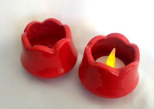 2 x Ceramic Tea Light Holders Red Tulip Shaped - New Never Used