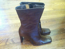Steve Madden Boots leather high heel 7.5 Brown winter dress woman's ladies girls