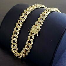 Mens 14K Gold Plated Iced Miami Cuban Lad Stimulated Diamond Hip Hop Chain Set