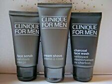 NEW CLINIQUE Men SET, FACE SCRUB 1.7oz,CHARCOAL FACE WASH 1.7oz,CREAM SHAVE 2oz