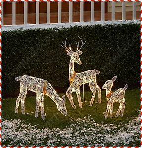3-Pc Lighted Reindeer Family Sculpture Deer Buck Doe Outdoor Christmas Yard Set