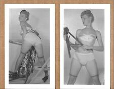 Vintage B & W Risque Lingerie Pinup Photos Leggy Woman in Bra Panties