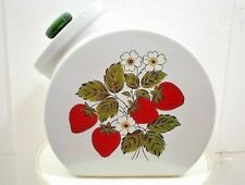 VINTAGE MCCOY COOKIE JAR RED STRAWBERRY TILTED CANISTER WHITE DAISIES GREEN LID