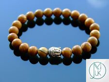 Buddha Wooden Jasper Natural Gemstone Bracelet 7-8'' Elasticated Healing Stone