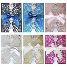 10pcs/set Wedding Invitations Card with Ribbon Hollow Lace Envelope Party Supply