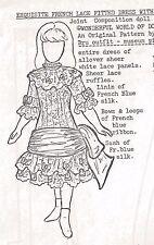 "18""Antique French Jumeau Doll@1880 Low Waist Bow Trim Dress/Sash Pattern German"