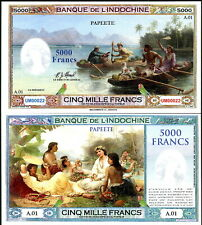 NEW GORGEOUS TAHITI (PAPEETE) 5000 FRANCS FANTASY ART NOTE LUSH TROPICAL SCENES!