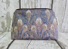Liberty London Hera Tana Lawn Makeup Bag. Peacock, Feather, Gift, Pouch, Nouveau