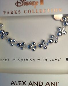 Disney Parks Alex & And Ani Silver Mickey Icon Beaded Bracelet