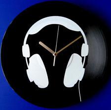 Vinyl Schallplatten-Uhr,Wanduhr,Wand-Deko,Retro,Geschenk, DJ, Motiv: Kopfhörer
