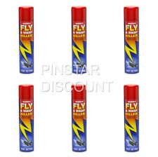 6 X FLY & WASP KILLER INSECTICIDE  FAST ACTING SPRAY AEROSOL 300ml SANMEX