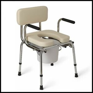 Medline G98204 Padded Luxury Drop Arm Commode - Silver