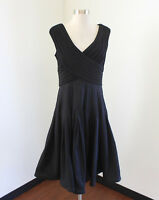 Adrianna Papell Black Contrast Fit and Flare Evening Cocktail Dress Size 12