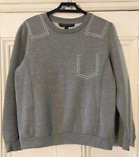"Topshop Petite Womens Grey + White Stitching Sweatshirt UK 6 EU 34 Chest 30"" VGC"