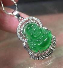 Gold Plate Green JADE Pendant Buddha God Necklace Diamond (Imitation) 279994