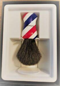 Vie-Long Black Horse Hair Barber Pole Shaving Brush w/ Brush Stand, Gift Boxed