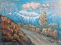 Vintage post impressionist oil painting mountain landscape signed