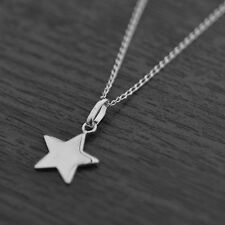 "Solid 925 Sterling Silver Petite Star Pendant Chain Necklace 18"" Inches / 45cm"