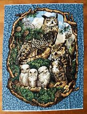 "Owl Family Fabric Panel Lap Quilt Wall Hanging 46 x 35"" Cabin Woodsy Charm"
