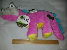 Go Dog Dino Toy Large Spike Stegosaurus Pink Yellow Teal with Chew Guard Fabric