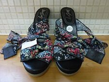 Miss Sixty Floral Lace Tie Up Wedge Platform Sandal Shoes 7/41 BNWT Black/Multi