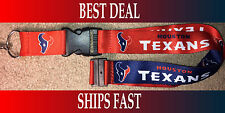 NEW NFL Official Team Colors REVERSIBLE KEYCHAIN LANYARD -Houston Texans
