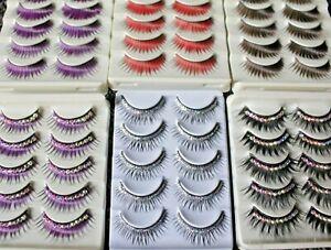5 pr Bulk Neon Glitter Purple Bright Color False Eyelashes Fake Extensions Party