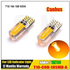 2Pcs T10 168 COB 3W LED Silicone Signal Tail Turn Bulb Light Super Bright AMBER