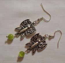 BELLISSIMO TIBETAN SILVER earrings-butterflies, Verde Opale messicano (CAT' S Occhio)