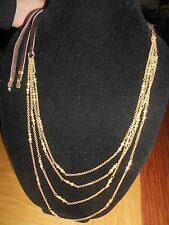 LUCKY BRAND, MULTI-LAYERS, METAL BEADED GOLD TONE,LEATHER STRING, LONG NECKLACE.