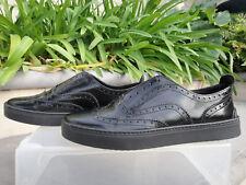Rag & Bone MELI Black Leather, Laceless Brogue Sneaker, Womens' US Size 37 1/2