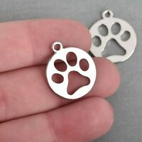 10 Silver PAW PRINT Cut Out Charms, Dog Cat Charms, 23mm, chs3863