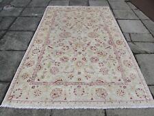 Vintage Traditional Hand Made Afghan Oriental Wool Beige Red Carpet 277x176cm