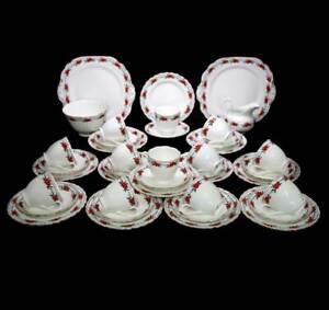 Antique Chelson England 12 person 40 piece tea set trios cake plates, sugar bowl
