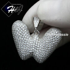 "Bubble Initial Letter ""W"" Pendant*Sp203 Men 925 Sterling Silver Lab Diamond"